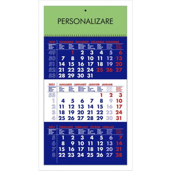Calendar de perete triptic albastru