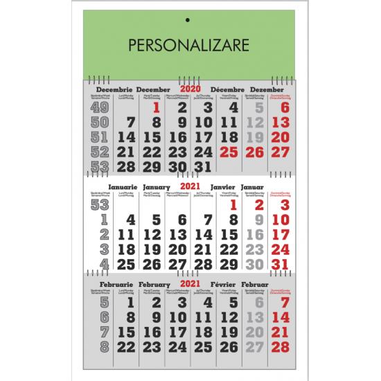 Calendar de perete triptic pliabil gri
