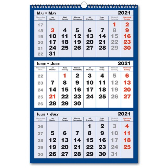 Calendar Triptic trei culori 2021