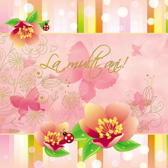 Felicitare La multi ani! flori si buburuze