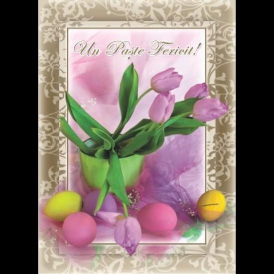Felicitare Paste - lalele, oua colorate