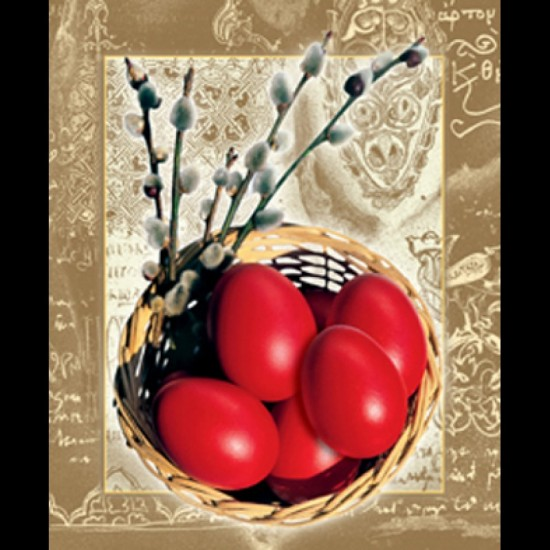 Felicitare Paste - oua rosii